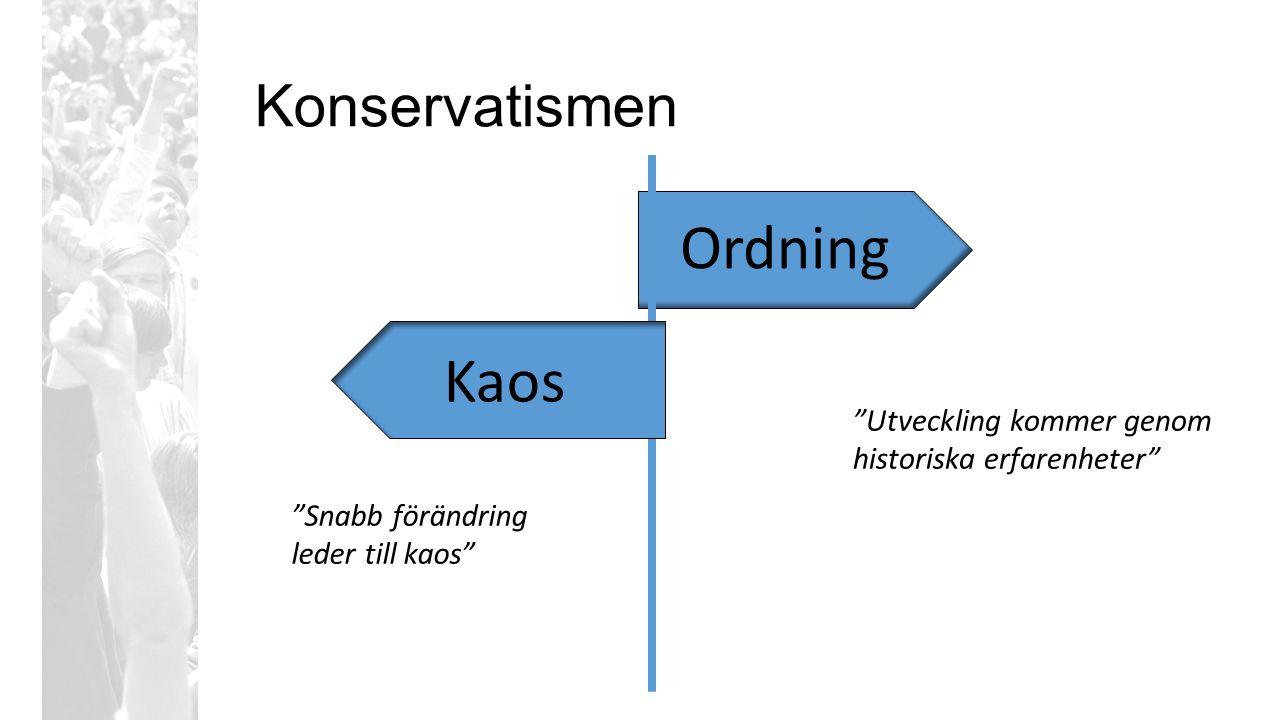 """Konservatismen Ordning Kaos """"Utveckling kommer genom historiska erfarenheter"""" """"Snabb förändring leder till kaos"""""""