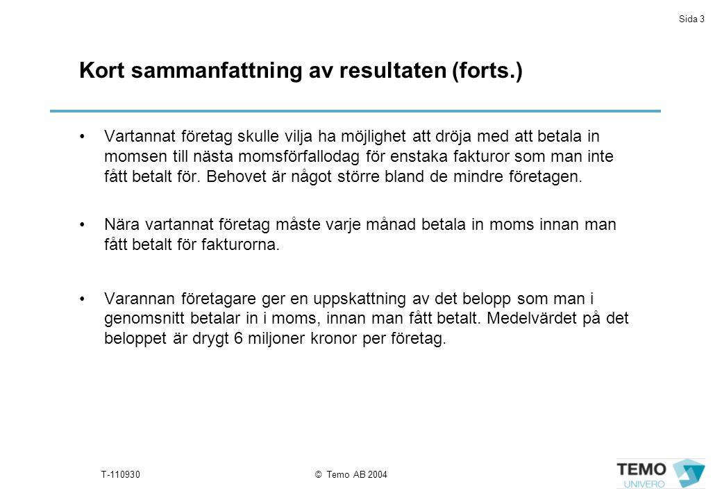 Sida 3 T-110930© Temo AB 2004 Kort sammanfattning av resultaten (forts.) Vartannat företag skulle vilja ha möjlighet att dröja med att betala in momsen till nästa momsförfallodag för enstaka fakturor som man inte fått betalt för.