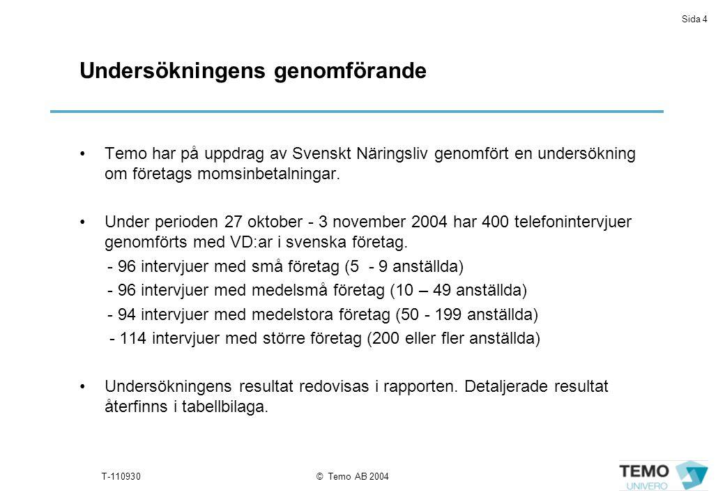 Sida 4 T-110930© Temo AB 2004 Undersökningens genomförande Temo har på uppdrag av Svenskt Näringsliv genomfört en undersökning om företags momsinbetalningar.
