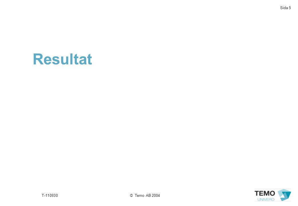 Sida 5 T-110930© Temo AB 2004 Resultat