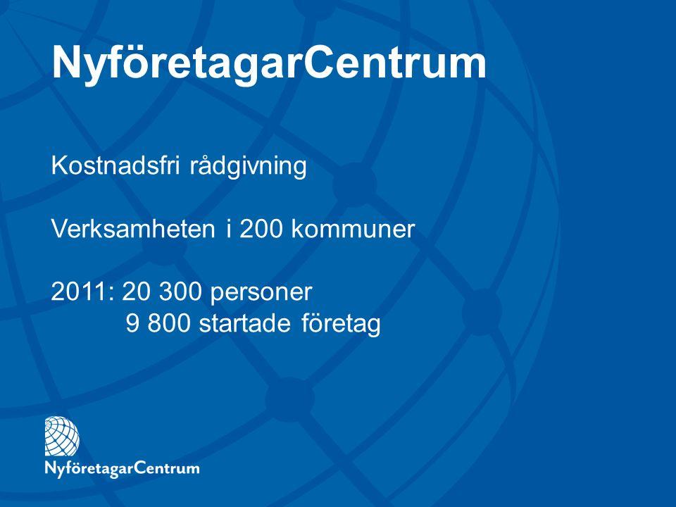 Kostnadsfri rådgivning Verksamheten i 200 kommuner 2011: 20 300 personer 9 800 startade företag NyföretagarCentrum
