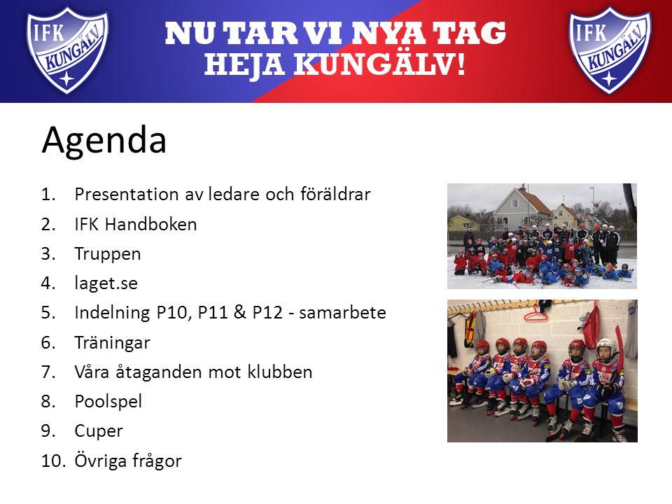 Agenda 1.Presentation av ledare och föräldrar 2.IFK Handboken 3.Truppen 4.laget.se 5.Indelning P10, P11 & P12 - samarbete 6.Träningar 7.Våra åtaganden mot klubben 8.Poolspel 9.Cuper 10.Övriga frågor