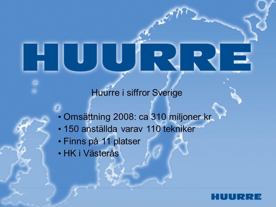 Huurre i siffror Sverige Omsättning 2008: ca 310 miljoner kr 150 anställda varav 110 tekniker Finns på 11 platser HK i Västerås