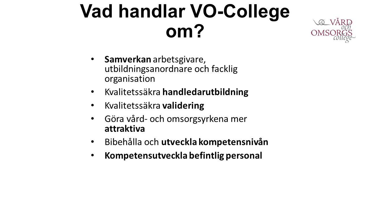 Vad handlar VO-College om? Samverkan arbetsgivare, utbildningsanordnare och facklig organisation Kvalitetssäkra handledarutbildning Kvalitetssäkra val