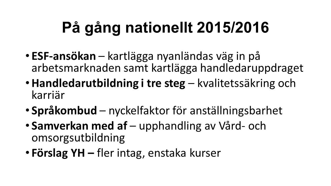 På gång nationellt 2015/2016 ESF-ansökan – kartlägga nyanländas väg in på arbetsmarknaden samt kartlägga handledaruppdraget Handledarutbildning i tre