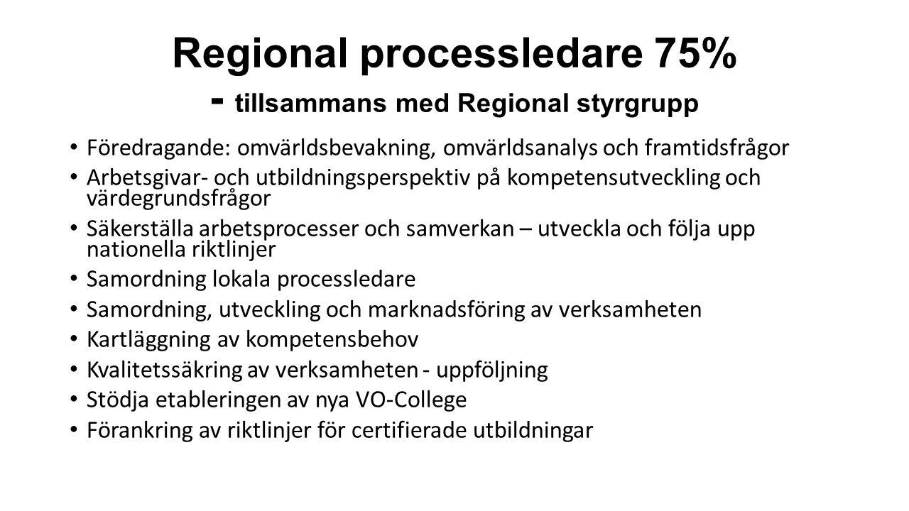 Regional processledare 75% - tillsammans med Regional styrgrupp Föredragande: omvärldsbevakning, omvärldsanalys och framtidsfrågor Arbetsgivar- och utbildningsperspektiv på kompetensutveckling och värdegrundsfrågor Säkerställa arbetsprocesser och samverkan – utveckla och följa upp nationella riktlinjer Samordning lokala processledare Samordning, utveckling och marknadsföring av verksamheten Kartläggning av kompetensbehov Kvalitetssäkring av verksamheten - uppföljning Stödja etableringen av nya VO-College Förankring av riktlinjer för certifierade utbildningar