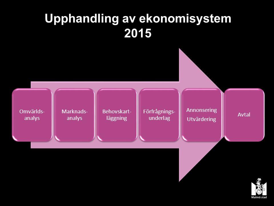 Upphandling av ekonomisystem 2015 Omvärlds- analys Marknads- analys Behovskart- läggning Förfrågnings- underlag Annonsering Utvärdering Avtal
