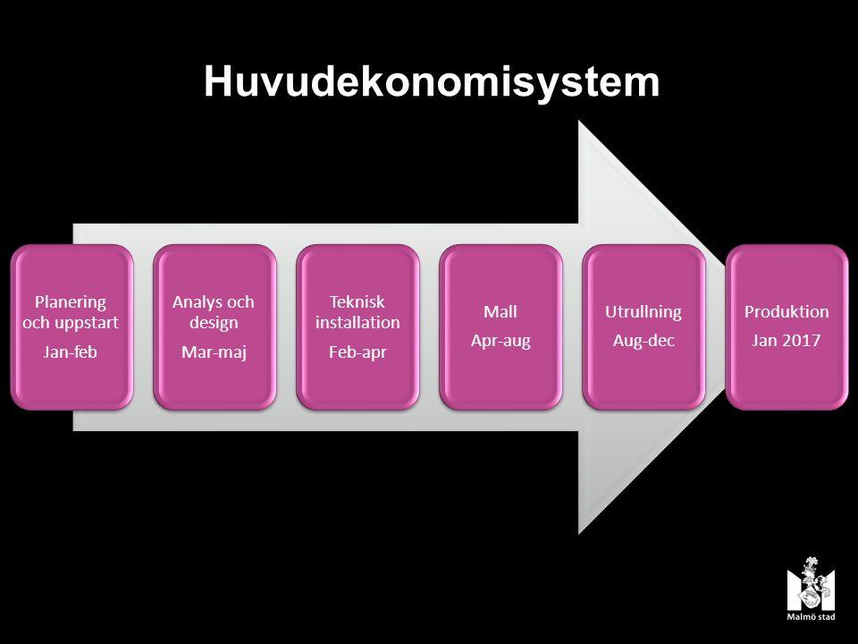 Huvudekonomisystem Planering och uppstart Jan-feb Analys och design Mar-maj Teknisk installation Feb-apr Mall Apr-aug Utrullning Aug-dec Produktion Jan 2017