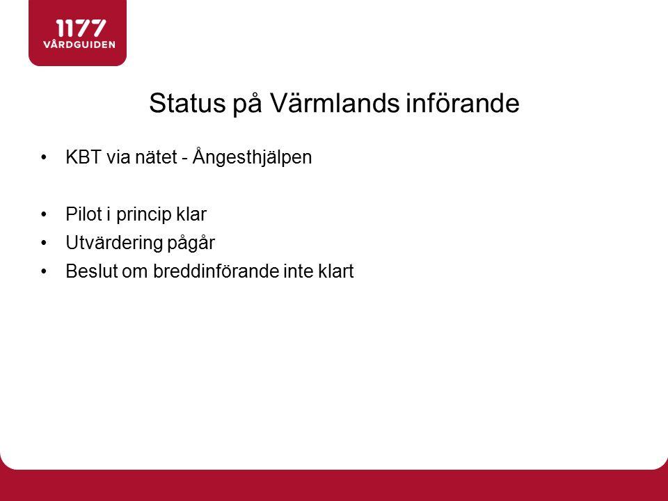 KBT via nätet - Ångesthjälpen Pilot i princip klar Utvärdering pågår Beslut om breddinförande inte klart Status på Värmlands införande