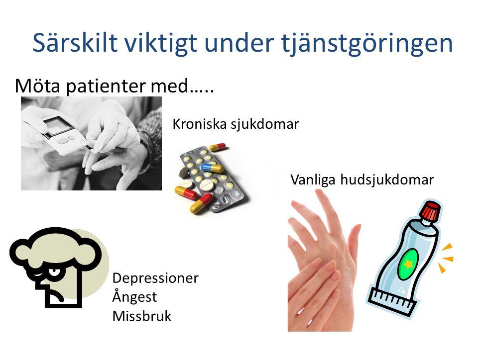 Möta patienter med….. Särskilt viktigt under tjänstgöringen Kroniska sjukdomar Depressioner Ångest Missbruk Vanliga hudsjukdomar