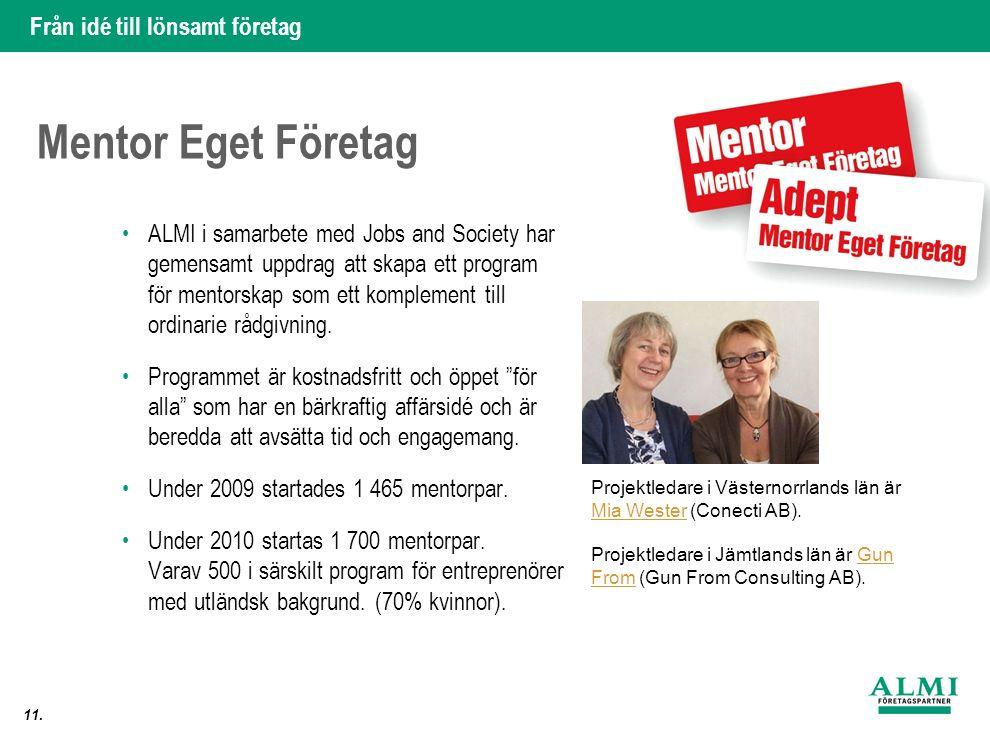 Från idé till lönsamt företag 11. Mentor Eget Företag ALMI i samarbete med Jobs and Society har gemensamt uppdrag att skapa ett program för mentorskap
