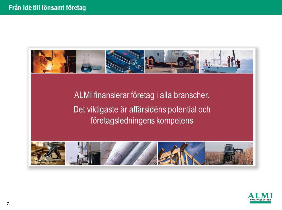 Från idé till lönsamt företag 7.. ALMI finansierar företag i alla branscher.