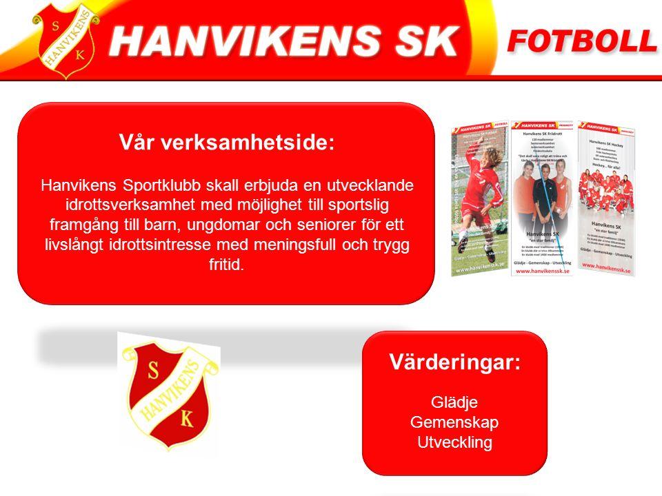 Vår verksamhetside: Hanvikens Sportklubb skall erbjuda en utvecklande idrottsverksamhet med möjlighet till sportslig framgång till barn, ungdomar och seniorer för ett livslångt idrottsintresse med meningsfull och trygg fritid.