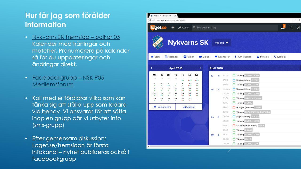 Nykvarns SK hemsida – pojkar 05 Kalender med träningar och matcher.