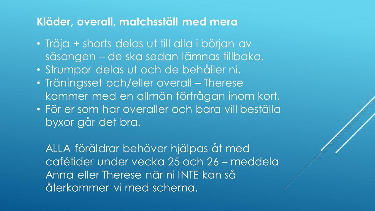Tröja + shorts delas ut till alla i början av säsongen – de ska sedan lämnas tillbaka.