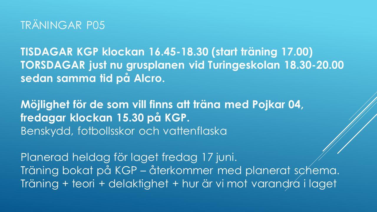 TRÄNINGAR P05 TISDAGAR KGP klockan 16.45-18.30 (start träning 17.00) TORSDAGAR just nu grusplanen vid Turingeskolan 18.30-20.00 sedan samma tid på Alcro.
