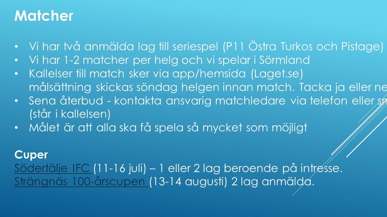Matcher Vi har två anmälda lag till seriespel (P11 Östra Turkos och Pistage) Vi har 1-2 matcher per helg och vi spelar i Sörmland Kallelser till match sker via app/hemsida (Laget.se) målsättning skickas söndag helgen innan match.