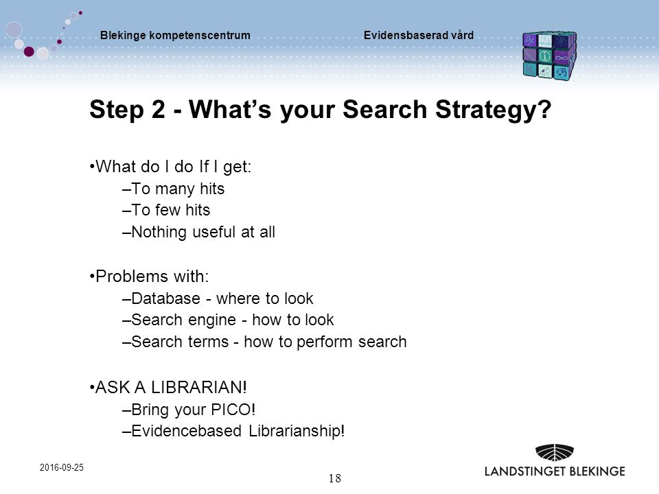 Blekinge kompetenscentrumEvidensbaserad vård 2016-09-25 18 Step 2 - What's your Search Strategy? What do I do If I get: –To many hits –To few hits –No