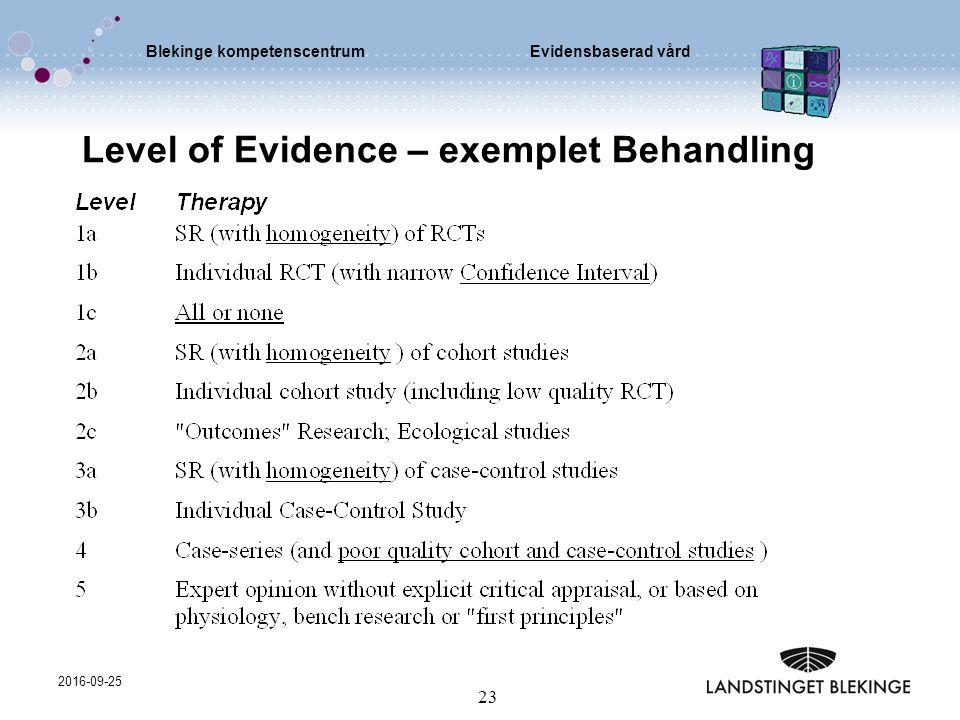 Blekinge kompetenscentrumEvidensbaserad vård 2016-09-25 23 Level of Evidence – exemplet Behandling
