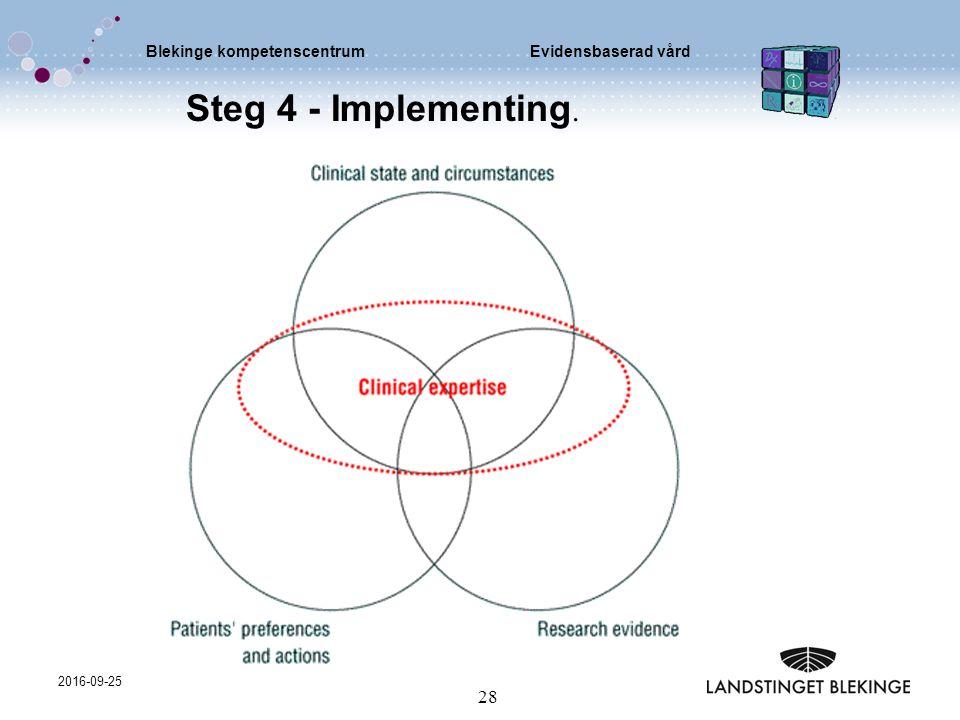 Blekinge kompetenscentrumEvidensbaserad vård 2016-09-25 28 Steg 4 - Implementing.