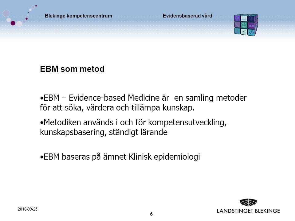 Blekinge kompetenscentrumEvidensbaserad vård 2016-09-25 6 EBM som metod EBM – Evidence-based Medicine är en samling metoder för att söka, värdera och tillämpa kunskap.