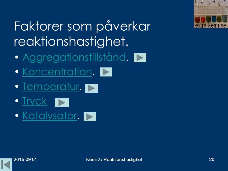 Faktorer som påverkar reaktionshastighet. Aggregationstillstånd.Aggregationstillstånd Koncentration.Koncentration Temperatur.Temperatur Tryck Katalysa