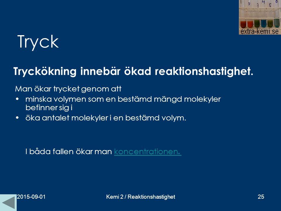 Tryck Tryckökning innebär ökad reaktionshastighet. 2015-09-01Kemi 2 / Reaktionshastighet25 Man ökar trycket genom att minska volymen som en bestämd mä