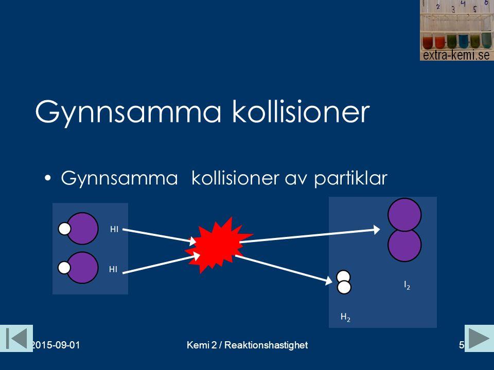 Inte alla kollisioner är gynnsamma kollisioner 2015-09-01Kemi 2 / Reaktionshastighet6 Geometriskt ogynnsam kollision Denna kollision leder inte till en kemisk reaktion.
