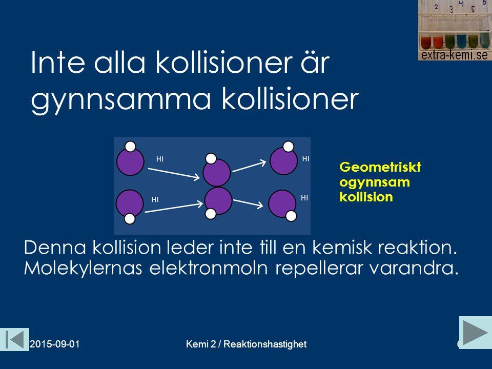 Inte alla kollisioner är gynnsamma kollisioner 2015-09-01Kemi 2 / Reaktionshastighet6 Geometriskt ogynnsam kollision Denna kollision leder inte till e