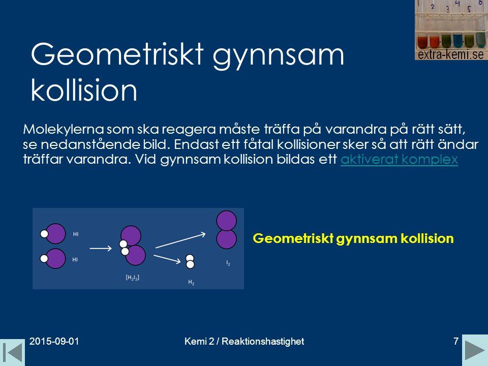 Geometriskt gynnsam kollision Molekylerna som ska reagera måste träffa på varandra på rätt sätt, se nedanstående bild. Endast ett fåtal kollisioner sk