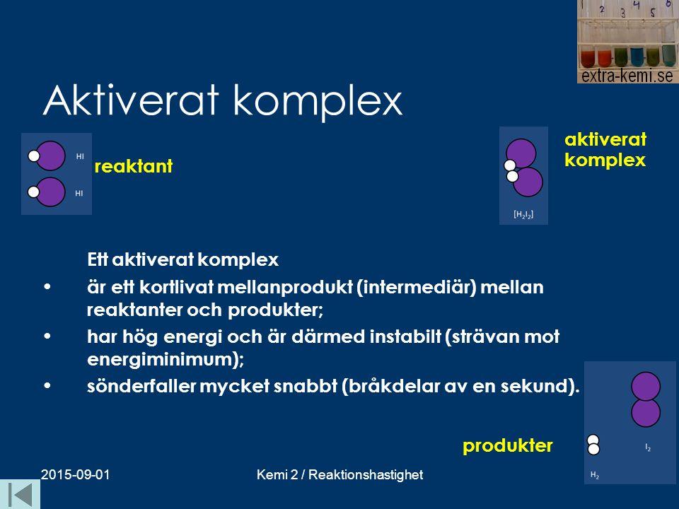 Aktiverat komplex Ett aktiverat komplex är ett kortlivat mellanprodukt (intermediär) mellan reaktanter och produkter; har hög energi och är därmed ins