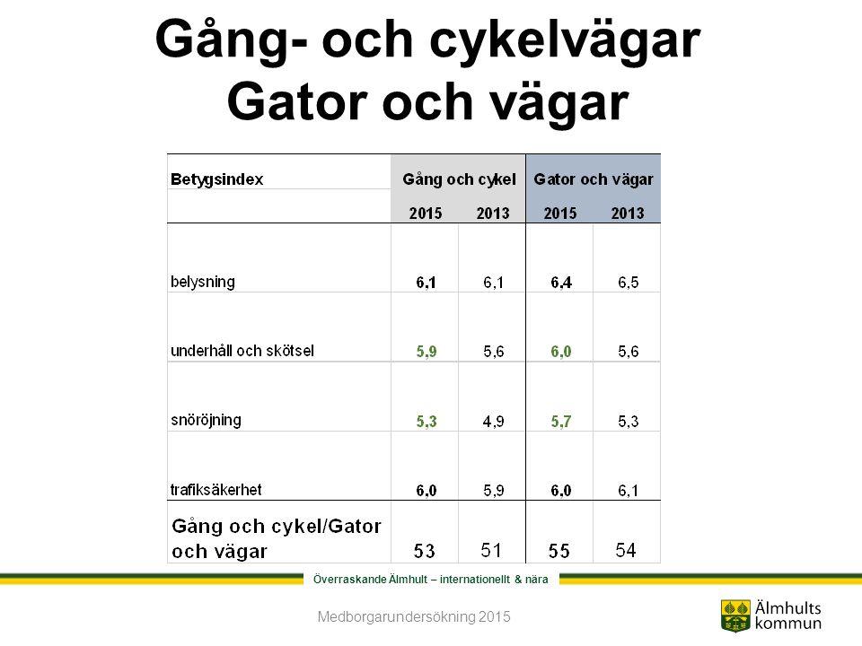 Överraskande Älmhult – internationellt & nära Gång- och cykelvägar Gator och vägar Medborgarundersökning 2015