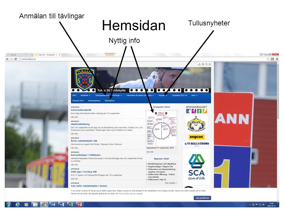 Hemsidan Nyttig info Anmälan till tävlingar Tullusnyheter