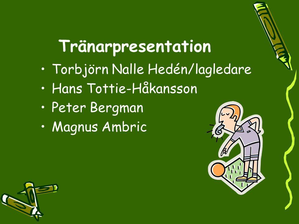 Tränarpresentation Torbjörn Nalle Hedén/lagledare Hans Tottie-Håkansson Peter Bergman Magnus Ambric