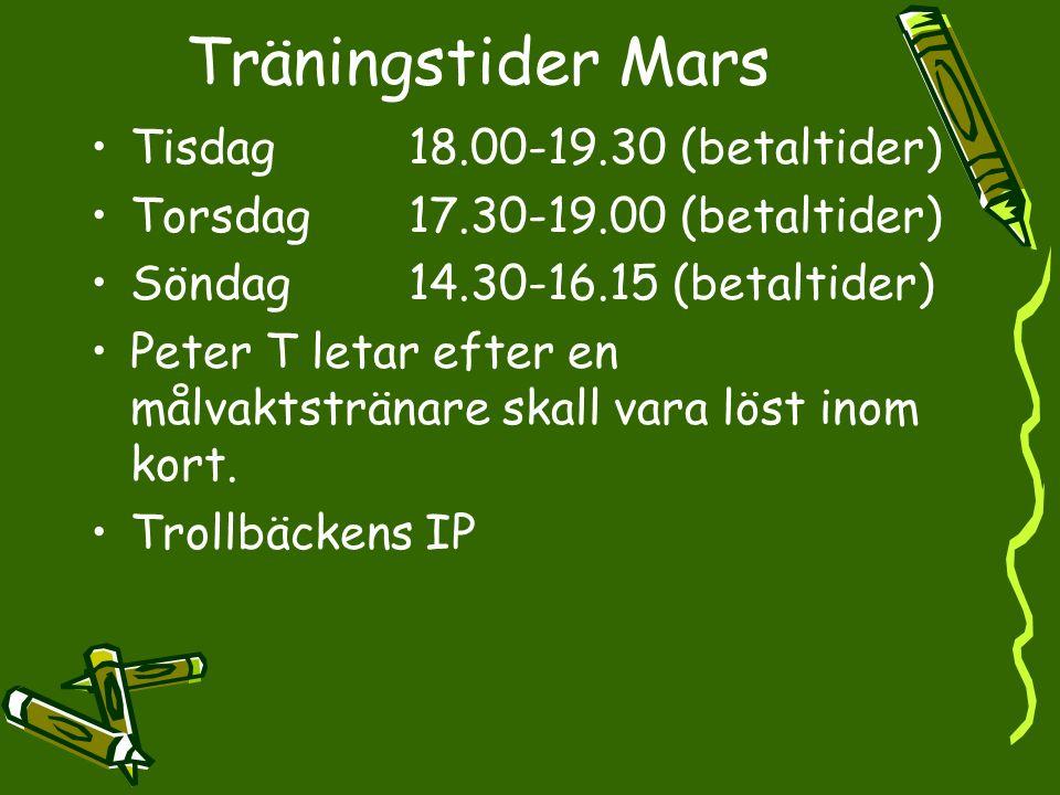 Träningstider Mars Tisdag18.00-19.30 (betaltider) Torsdag17.30-19.00 (betaltider) Söndag14.30-16.15 (betaltider) Peter T letar efter en målvaktstränar