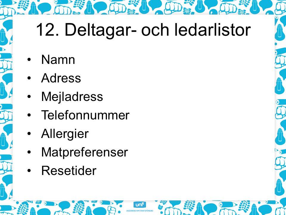 12. Deltagar- och ledarlistor Namn Adress Mejladress Telefonnummer Allergier Matpreferenser Resetider