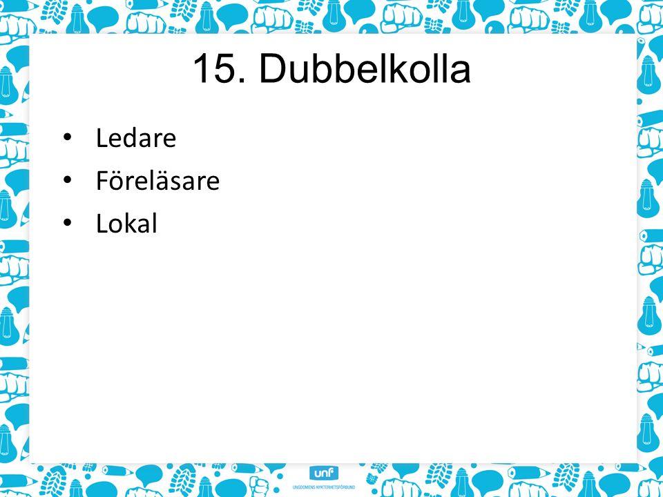 15. Dubbelkolla Ledare Föreläsare Lokal