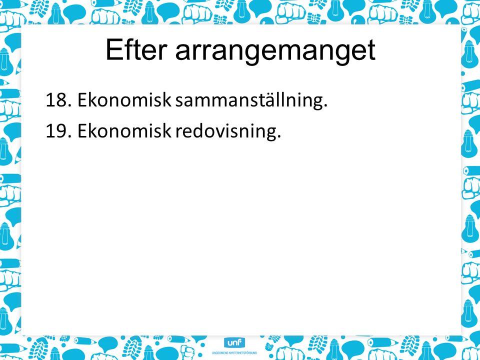 Efter arrangemanget 18. Ekonomisk sammanställning. 19. Ekonomisk redovisning.
