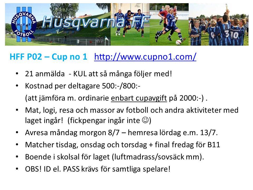 HFF P02 – Cup no 1 http://www.cupno1.com/http://www.cupno1.com/ 21 anmälda - KUL att så många följer med! Kostnad per deltagare 500:-/800:- (att jämfö