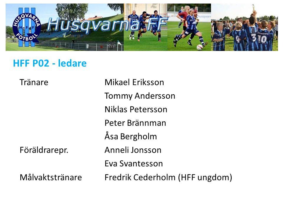 HFF P02 - ledare TränareMikael Eriksson Tommy Andersson Niklas Petersson Peter Brännman Åsa Bergholm Föräldrarepr.Anneli Jonsson Eva Svantesson MålvaktstränareFredrik Cederholm (HFF ungdom)