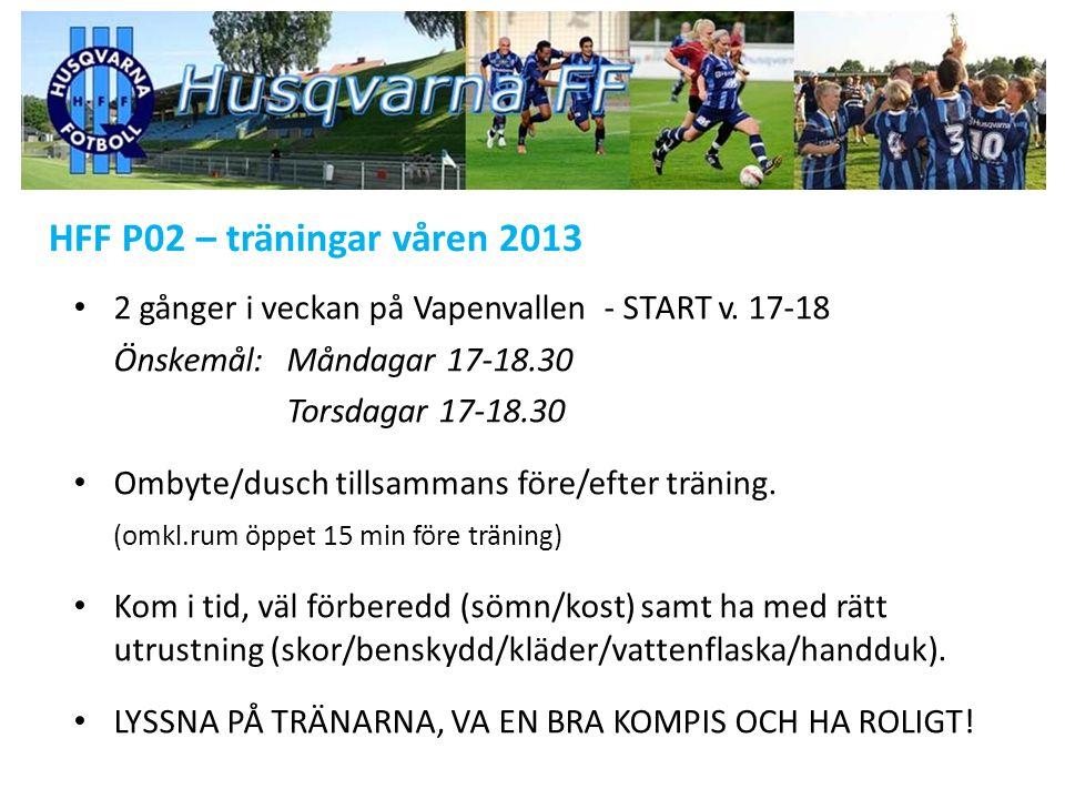 HFF P02 – träningar våren 2013 2 gånger i veckan på Vapenvallen - START v. 17-18 Önskemål: Måndagar 17-18.30 Torsdagar 17-18.30 Ombyte/dusch tillsamma