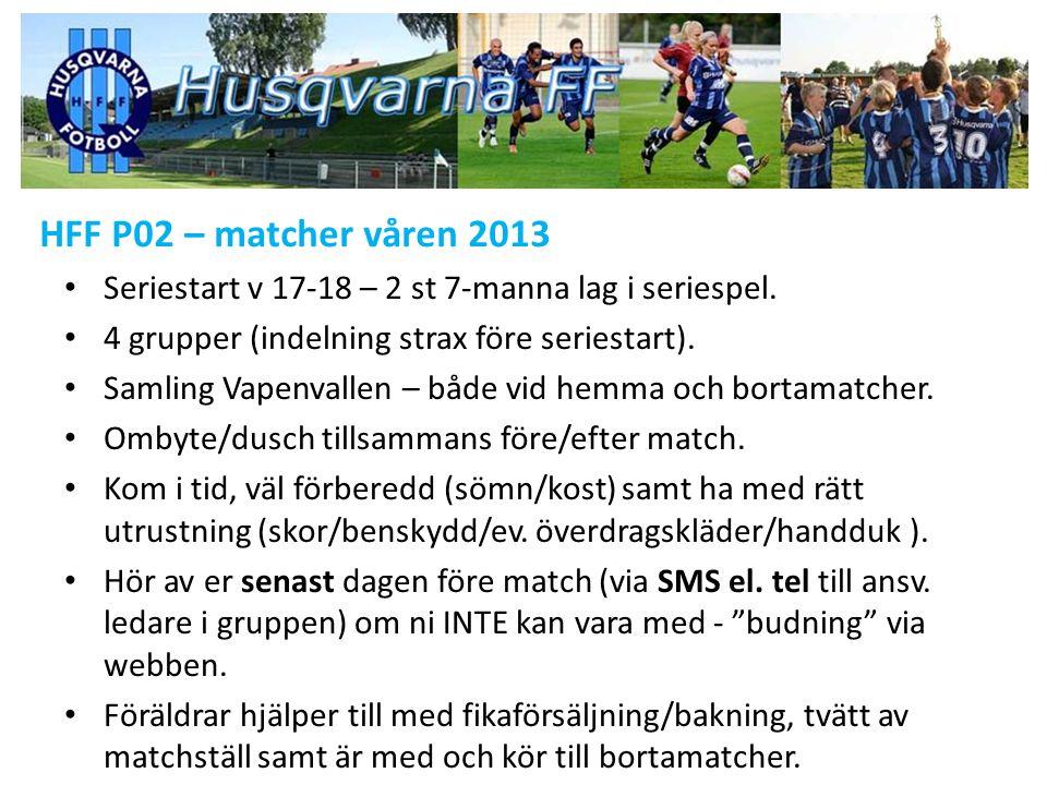 HFF P02 – matcher våren 2013 Seriestart v 17-18 – 2 st 7-manna lag i seriespel.