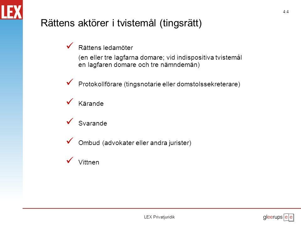 Rättegång Åklagare/Kärande Vittnesbås Rättens ledamöter Åhörare Tilltalad/Svarande LEX Privatjuridik 4:3