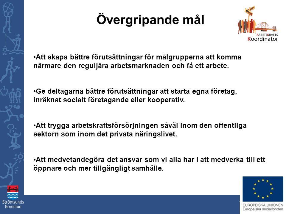 www.stromsund.se Övergripande mål Att skapa bättre förutsättningar för målgrupperna att komma närmare den reguljära arbetsmarknaden och få ett arbete.