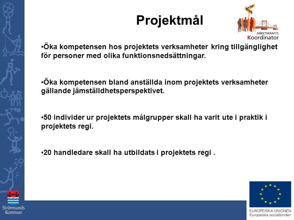 www.stromsund.se Projektmål Öka kompetensen hos projektets verksamheter kring tillgänglighet för personer med olika funktionsnedsättningar. Öka kompet