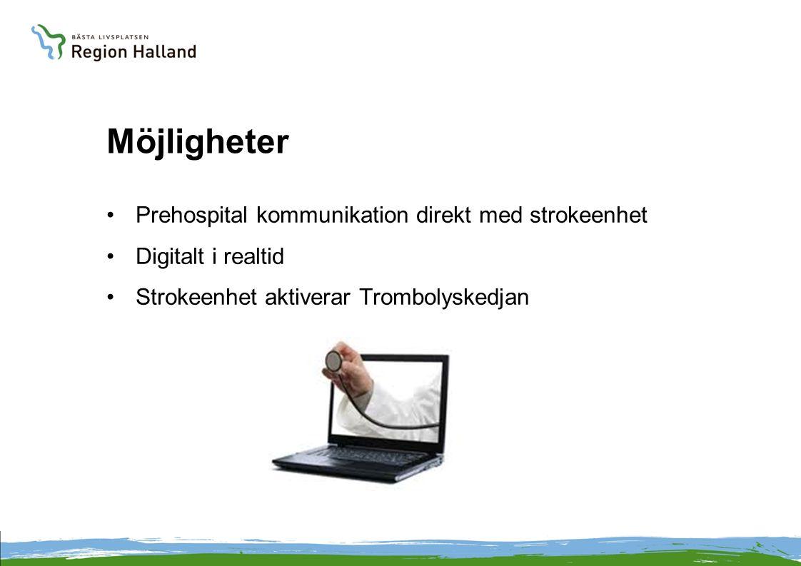 Möjligheter Prehospital kommunikation direkt med strokeenhet Digitalt i realtid Strokeenhet aktiverar Trombolyskedjan