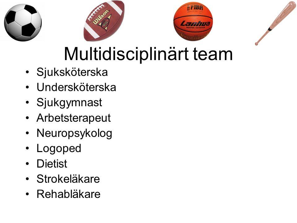 Multidisciplinärt team Sjuksköterska Undersköterska Sjukgymnast Arbetsterapeut Neuropsykolog Logoped Dietist Strokeläkare Rehabläkare