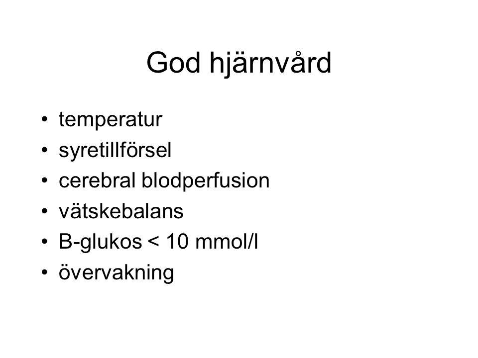God hjärnvård temperatur syretillförsel cerebral blodperfusion vätskebalans B-glukos < 10 mmol/l övervakning