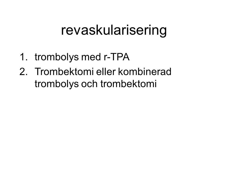 1.trombolys med r-TPA 2.Trombektomi eller kombinerad trombolys och trombektomi