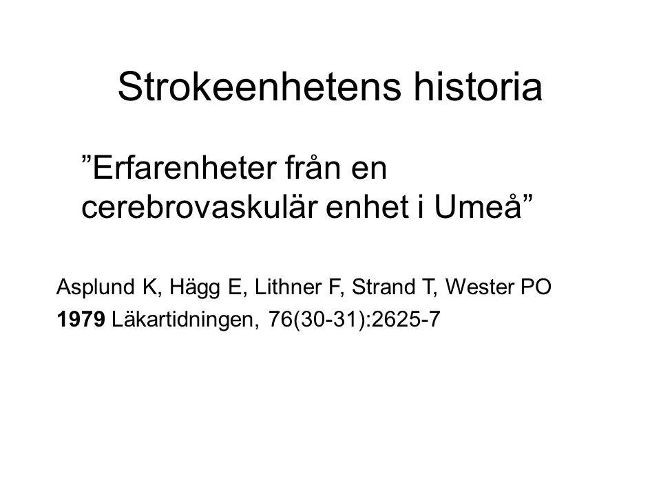 Strokeenhetens historia Erfarenheter från en cerebrovaskulär enhet i Umeå Asplund K, Hägg E, Lithner F, Strand T, Wester PO 1979 Läkartidningen, 76(30-31):2625-7